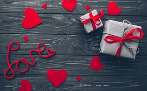 Picture love, gift, heart, red, love, wood, romantic, hearts, Valentine's Day, gift, valentine