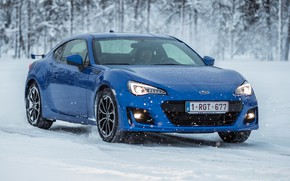 Picture winter, auto, snow, blue color, Subaru BRZ 2016