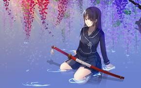 Picture water, katana, schoolgirl, flowering, long hair, sheath, Isaiah yomi my, Wisteria, Ga Rei Zero, sitting …