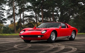 Picture Red, Auto, Lamborghini, Retro, Machine, 1969, Lights, Car, Supercar, Miura, Lamborghini Miura, Italian, P400, Body, …