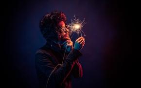 Picture light, hand, glasses, sparks, male, sparklers, Sparkler, hat