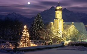 Picture mountains, night, lights, holiday, Germany, New Year, Bayern, Christmas, Wallgau