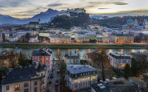Picture mountains, street, home, the evening, Austria, panorama, channel, Austria, Salzburg