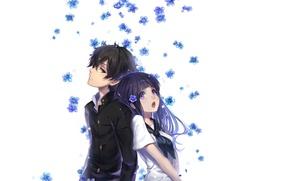 Picture white background, school uniform, art, forget-me-nots, back to back, Hyouk, The Orexin Hotaru, sailor, Eru ...