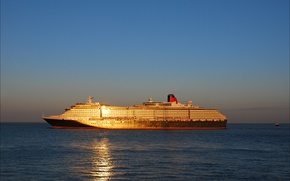 Picture sea, ocean, sunset, seascape, sunlight, Queen Victoria, transatlantic, cruise ship