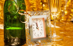 Picture time, glare, holiday, watch, glass, bottle, Christmas, New year, champagne, serpentine, bokeh, midnight