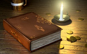 Picture candle, fantasy, art, book, coins, Tavern, Based Bard