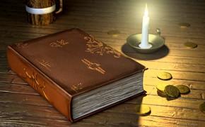 Wallpaper Tavern, book, coins, art, fantasy, candle, Based Bard