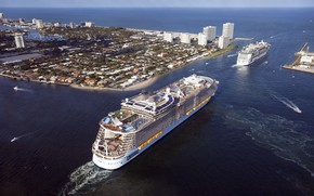 Picture The city, Liner, Top, The ship, Oasis of the Seas, Passenger, Two, Passenger liner, Boats, …
