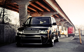 Picture Land Rover, black, road, street, parking, Trucko