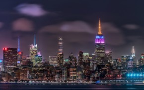 Picture night, lights, home, USA, New York