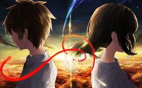 Picture the sky, girl, art, guy, Kamet, Miyamizu Mitsuha, Tachibana Taki, Your Name, Your name, Still …