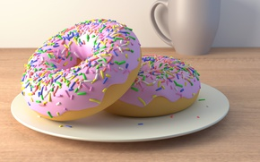 Picture plate, donuts, glaze