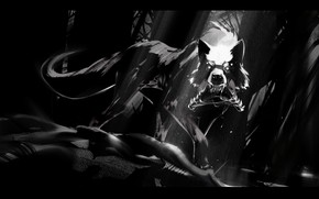 Picture wolf, black and white, fanetti