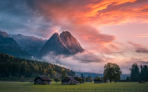 Picture the sky, clouds, light, mountains, the evening, morning, sheds
