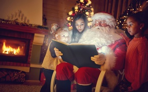 Wallpaper new year, book, fireplace, Santa Claus, children, devochki
