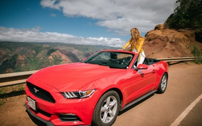 Picture road, girl, mountains, Mustang, Ford, convertible, Ford Mustang