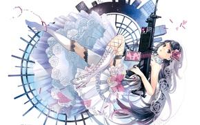 Picture home, stockings, boots, machine, the bride, veil, handcuffs, art, wedding dress, ruffles, Kei Sakuragi