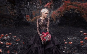Picture girl, flowers, pose, Park, mood, roses, bouquet, dress, Damien Prokhorov