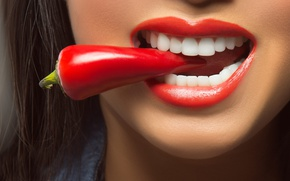 Wallpaper lips, teeth, Red Hot Chili Pepper, pepper