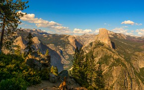 Wallpaper USA, stones, rocks, the sky, clouds, Yosemite, forest, height, hill, the bushes, trees, panorama, mountains, ...