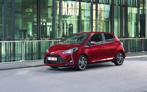 Picture red, red, Toyota, car, chic, metallic, Yaris hybrid