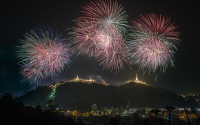 Picture landscape, mountains, the city, mood, holiday, beauty, the evening, fireworks