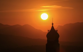 Picture the sun, sunset, tower
