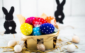 Picture colorful, Easter, happy, basket, spring, Easter, eggs, holiday, bunny, the painted eggs