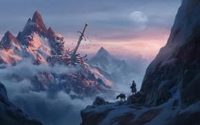 Wallpaper sake, moon, sword, fantasy, sky, weapon, mountains, clouds, snow, man, explorer, artwork, bones, fantasy art, ...