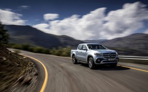 Picture road, the sky, clouds, mountains, grey, movement, markup, Mercedes-Benz, silver, pickup, 2017, X-Class