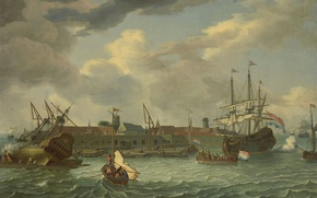 Picture ship, oil, picture, sail, canvas, seascape, Abraham Stork, The island Unrest in Batavia