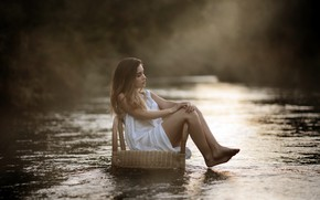 Wallpaper girl, river, chair, Laulights