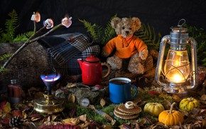 Wallpaper bear, plaid, marshmallow, fern, moss, lamp, burner, pumpkin, branch, kettle, lantern, compass, leaves, waffles, mug, ...