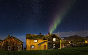 Picture houses, bay, northern lights, aurora borealis, turf houses