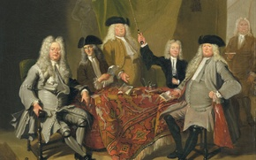 Wallpaper Cornelis Trost, The inspectors of the Medical Board in Amsterdam, picture, portrait