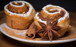 Picture cinnamon, cakes, delicious, glaze, appetizing