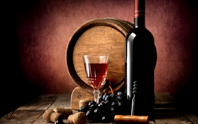 Picture table, wine, red, Board, glass, bottle, grapes, tube, twilight, barrel, corkscrew