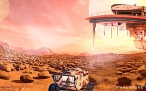 Picture surface, landscape, transport, platform, Mars Stone