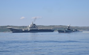 Picture the carrier, Navy, small anti-submarine ship, the Northern fleet, Admiral Kuznetsov