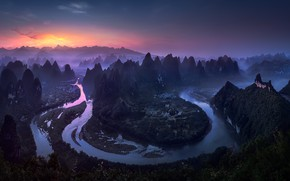 Picture river, the evening, morning, China