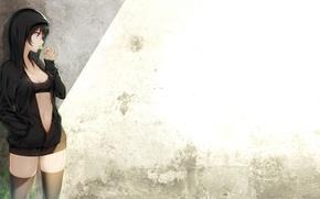 Picture girl, black hair, art, Lollipop, tokki