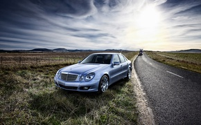 Picture road, field, Mercedes-Benz, E-Class, Mercedes, W211