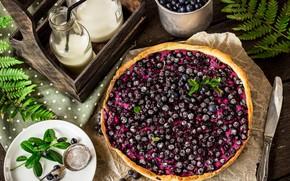 Picture berries, blueberries, pie, mint