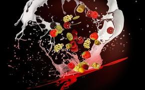 Picture squirt, berries, background, splash, milk, fruit