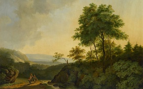 Wallpaper canvas, landscape, Cornelis Francois Roos, The Harz Mountains, picture