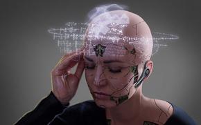 Picture girl, fantasy, math, sci-fi, digital art, artwork, fantasy art, Cyborg, futuristic, bald head, calculations