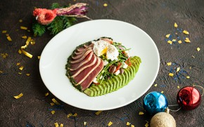 Picture greens, egg, meat, avocado