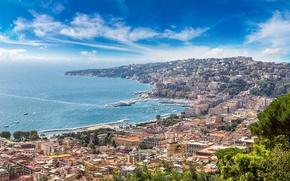 Wallpaper Italy, travel, Europe, panorama, coast, the city, city, coast, cityscape, Naples, view, Sorrento, Naples, Italy