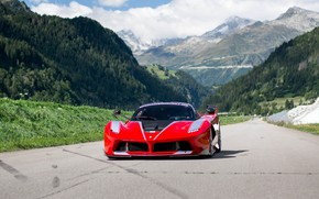 Wallpaper racing track, Ferrari, FXX K, mountains